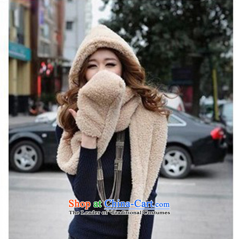 The Korean version of the new 2015 autumn and winter, a lovely double couples Knitting scarves thick with cap cap gloves three-in-One Carbon