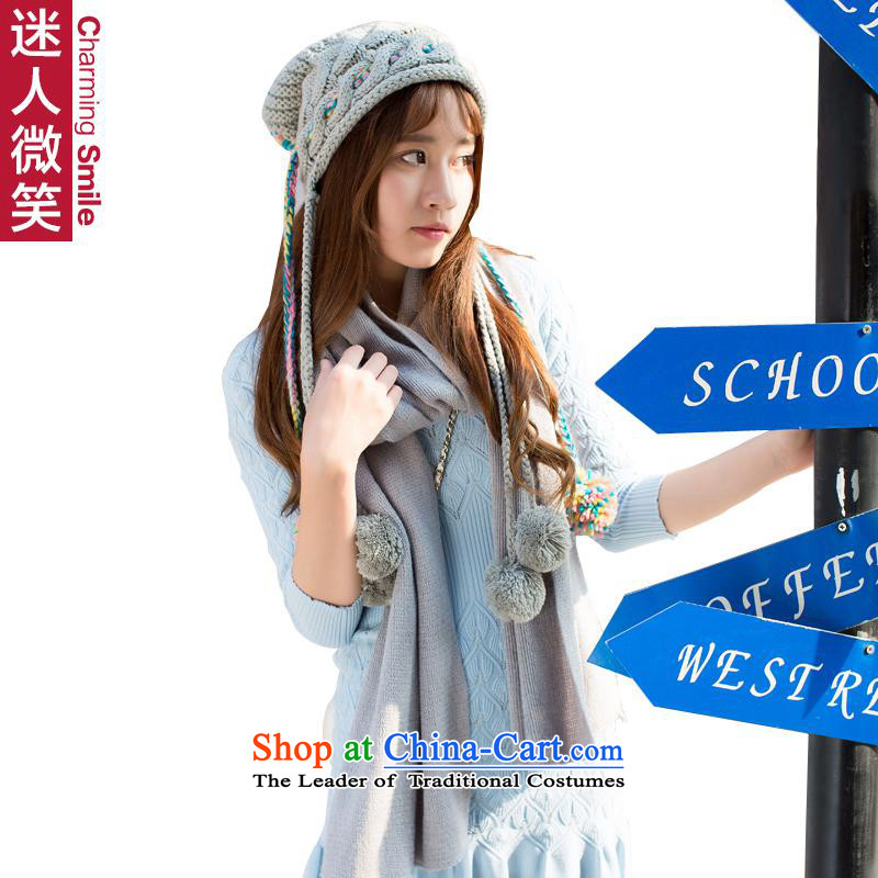 The charming smile, autumn and winter new lovely woven hats gross ball solid color scarf kit two female Gray