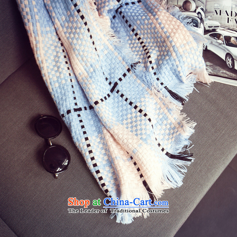 The new ultra-thick 2015 emulation Cashmere scarf shawl Ms. grid of autumn and winter spell color two-sided large scarf light blue
