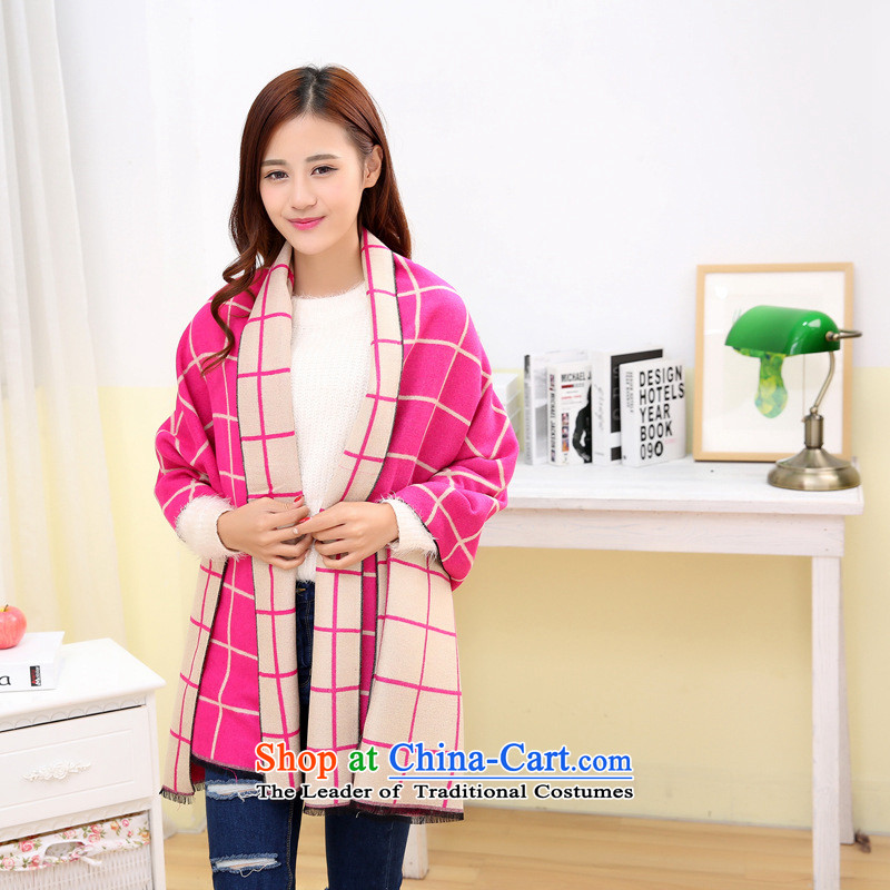 The Korean version of the new 2015 emulation Cashmere scarf grid thick shawl Ms. extension of autumn and winter streaks solid color two-sided large scarf by red