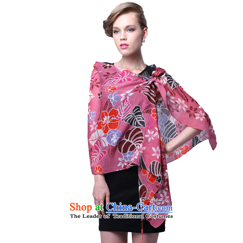 Ms. Cheung Hengyuan wool sauna silk scarves sunscreen silk scarf Blooming crazy (Boxset) in red