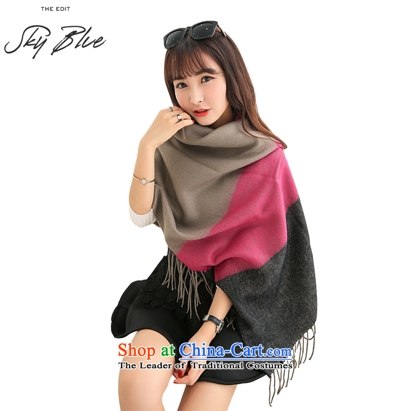 Ms. Ming Kwan Wai Shing ultra long thick_ Ms. autumn and winter streaks large scarf Gray