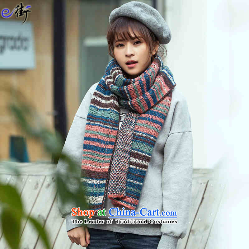 E street聽2015 President of Autumn and Winter Sweater Knit Scarf Korean college wind winter thick Warm Lined stitching Sleek and versatile a gray e Street shopping on the Internet has been pressed.