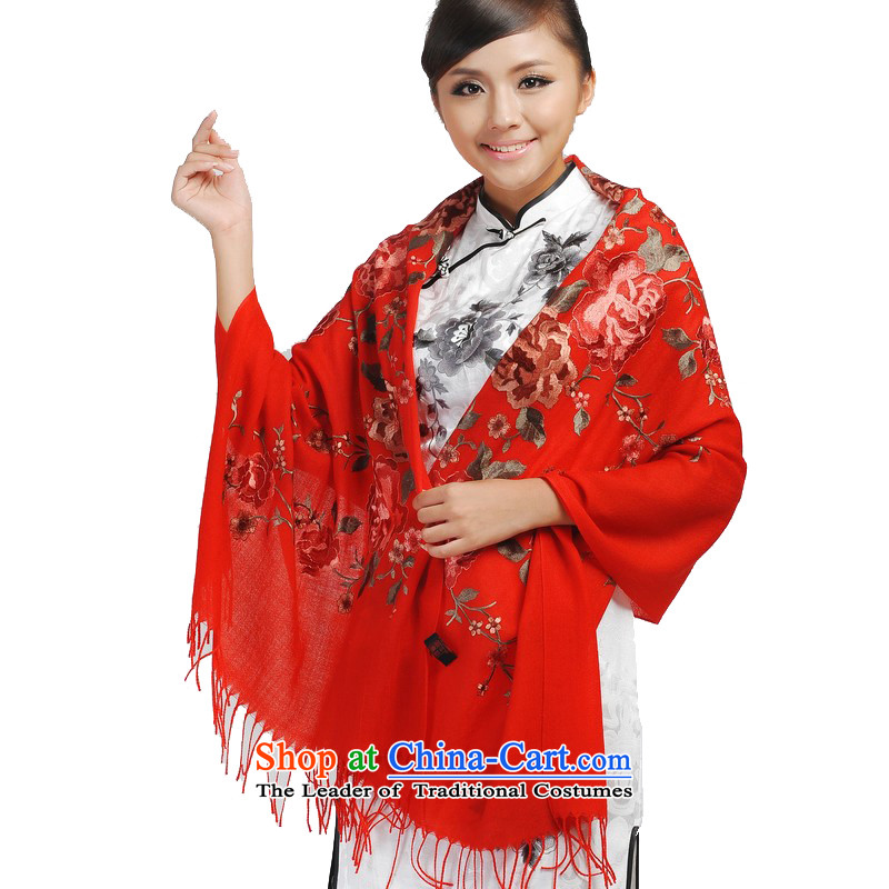 Shanghai Story thick woolen shawl embroidered manually scarf wedding gifts to the prestigious gas 192064 Red