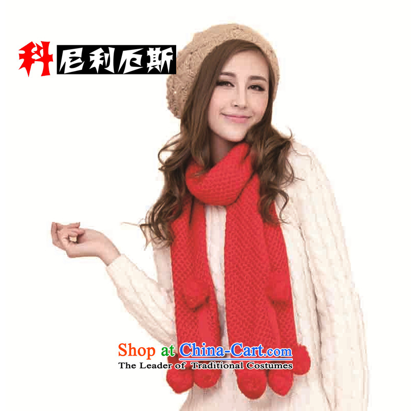 Cornelius Korean autumn and winter, thick warm long pure color Knitting scarves knitted lovely ball red