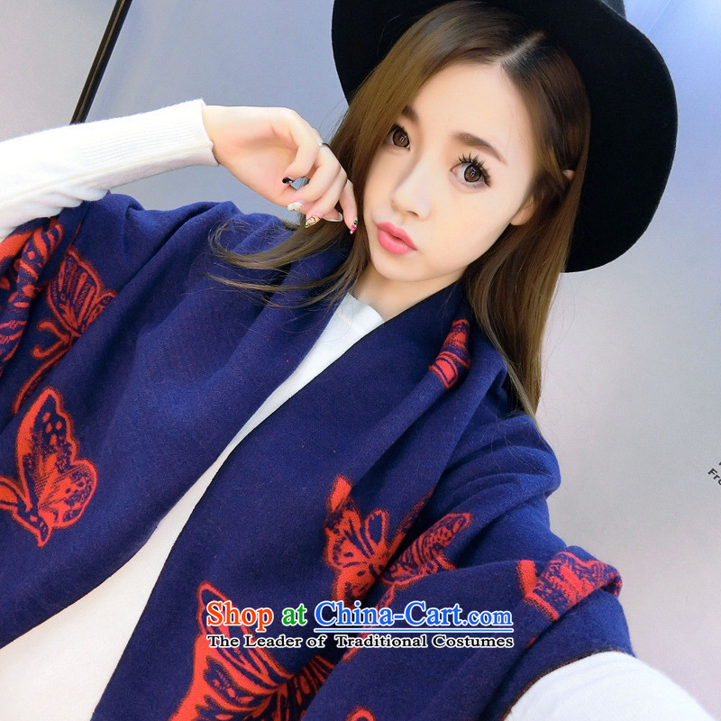 2015 new animal patterns of the scarf of autumn and winter female emulation cashmere warm two with the double-sided Fancy Scarf Red Butterfly