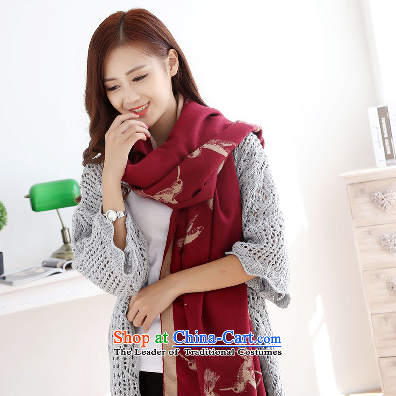 2015 new thick emulation pashmina long spell of autumn and winter color, wine red shawl beige