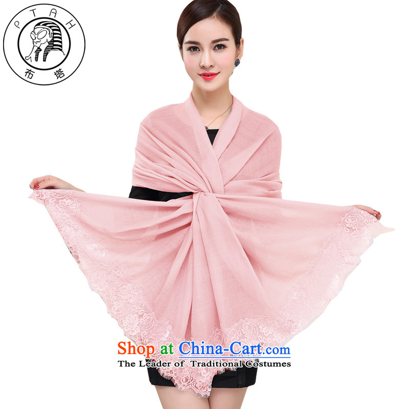 New products in the wool Fancy Scarf romantic lace edge stitching wool long scarf female plain color large shawl4PT16014313Pink