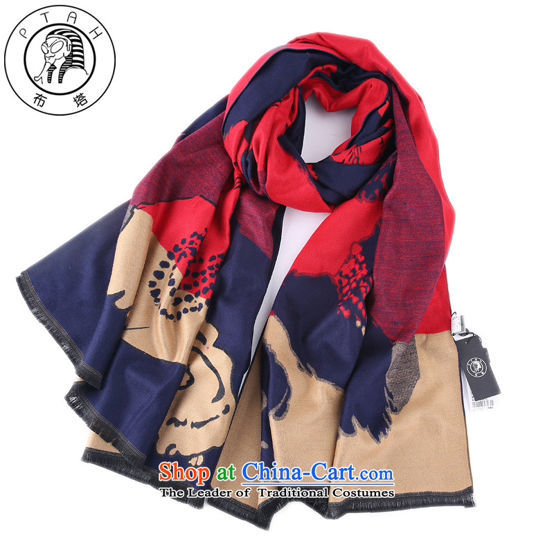 Buta scarf female national winds during the spring and autumn winter shawl scarf two with the double-sided mantle Thick Long Navy