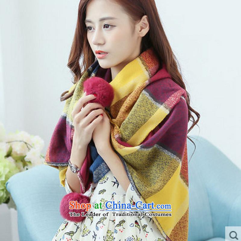 The Korean version of Winter Female England latticed pashmina shawl rabbit hair ball warm thick, mauve Ball