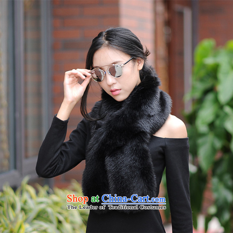 The Korean version of autumn and winter emulation fur shawl gross collars long a female updo shawl black