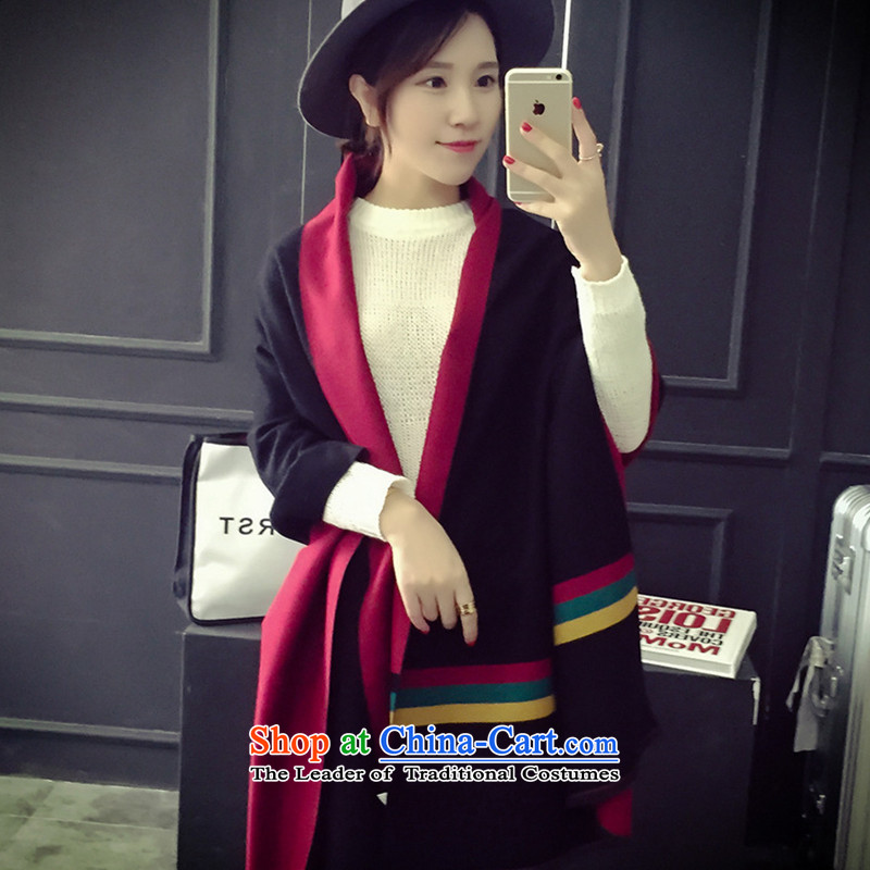 2015 new thick emulation pashmina extended President of autumn and winter spell-stripe duplex shawl black