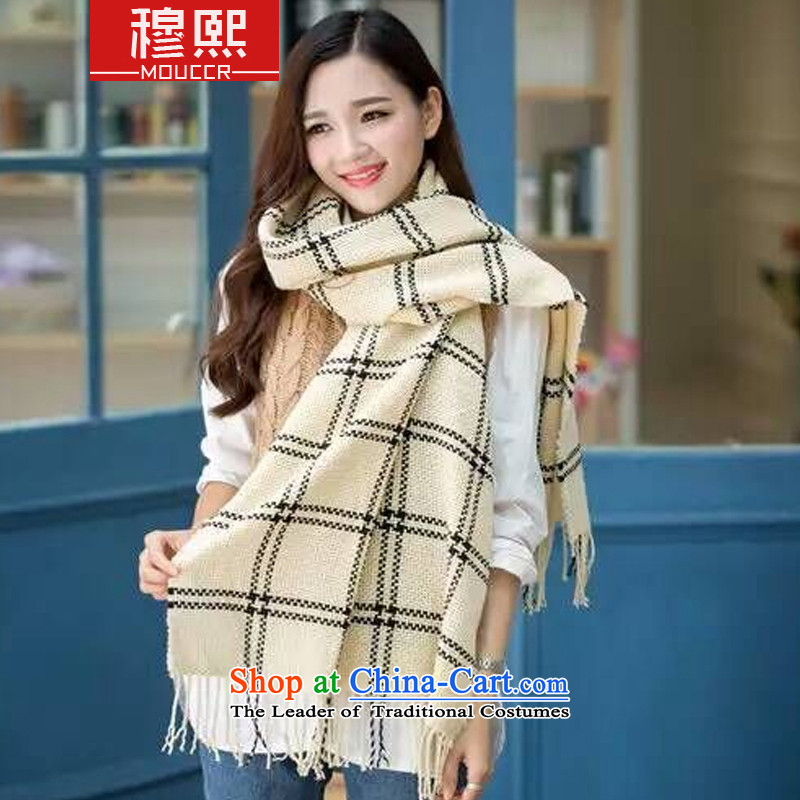 Mok-hee 2015 Fall/Winter Collections new Korean modern warm wind farm classic pinstripe edging female thick big Fancy Scarf 8032# Pink