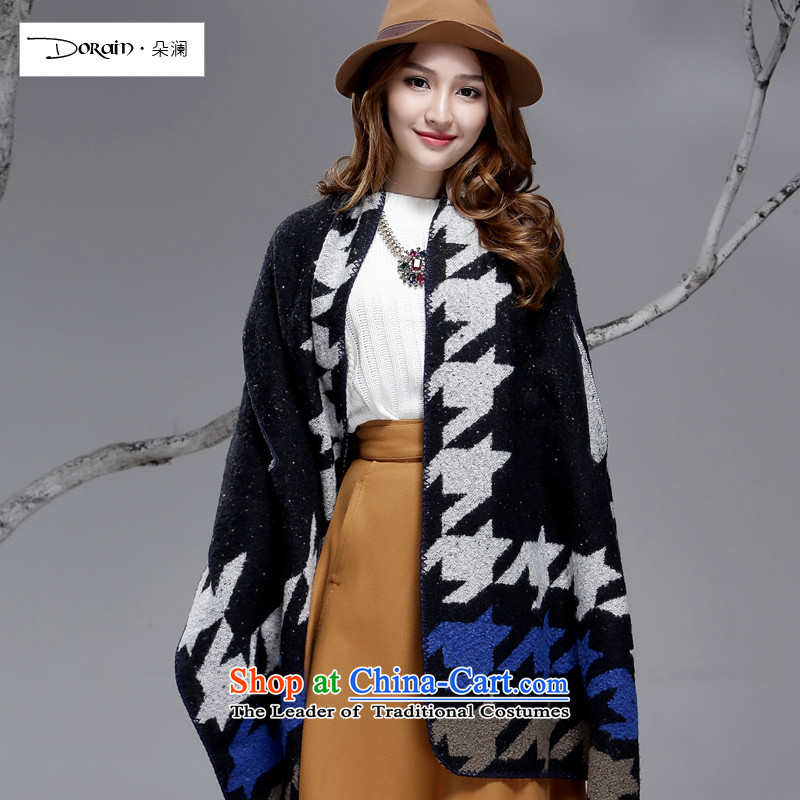 Flower girl of autumn and winter world scarf of ethnic cashmere shawls large scarf emulation two wool double-sided mantle Thick Long Black + Beige