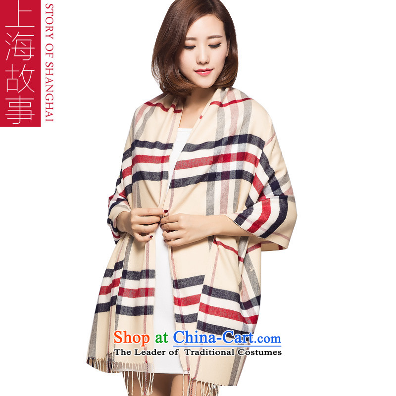 Shanghai Story 2015 Winter Ms. new plaid warm handkerchief also rice white plaid