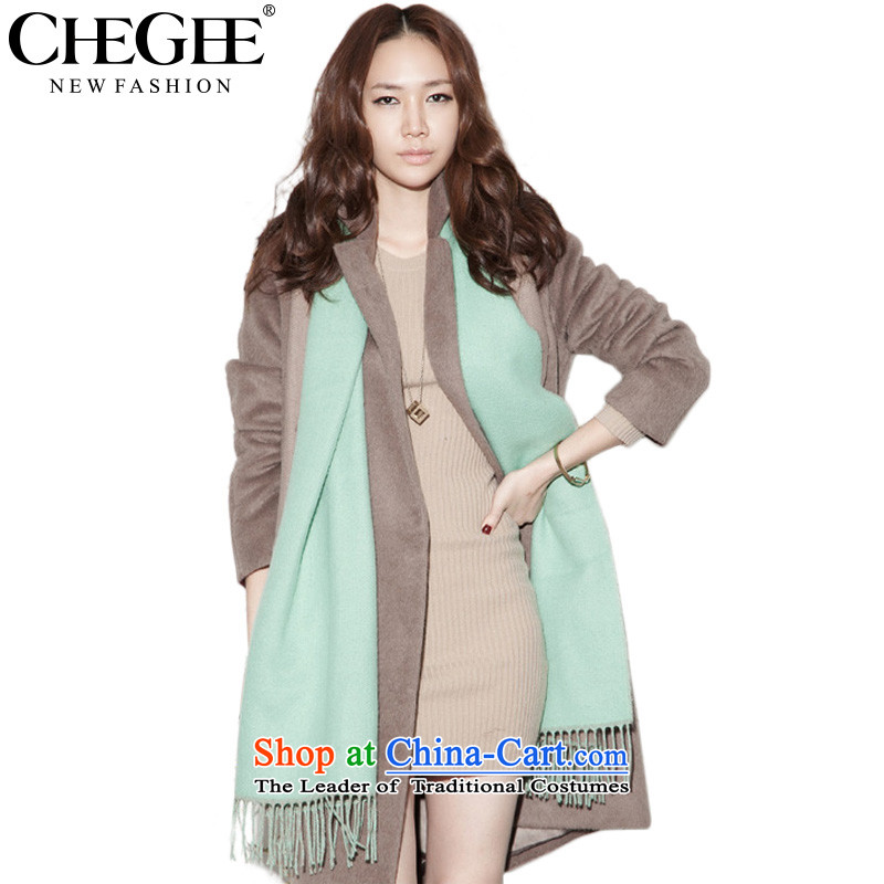 Anthology of Korean Double CHEGEE woolen scarves edging autumn and winter warm water shawl blue