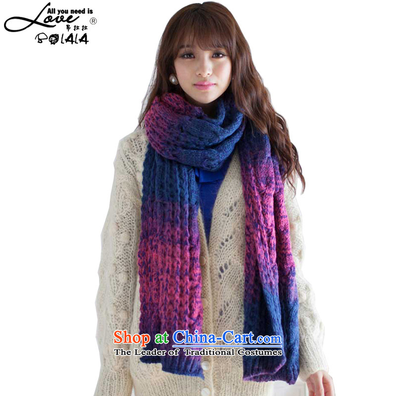 8LA BOLALA Knitting scarves Korean men and women fall and winter gradient thick warm winter Korean couples scarf knocked color gradient twist Ultra Blue violet gradient are code
