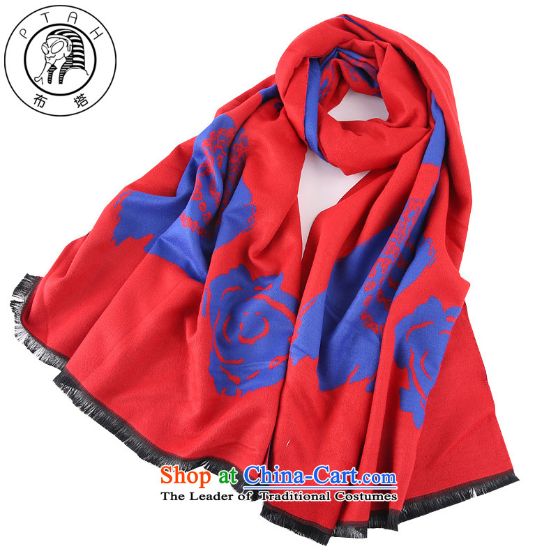 Buta scarf female autumn and winter emulation cashmere shawls large Korean Stamp long thick Fancy Scarf double-sided with a warm red