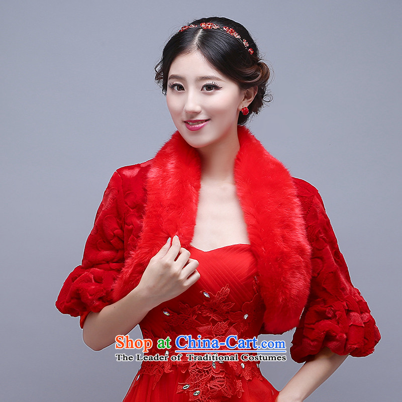 The new winter wedding shawl spring and autumn bride wedding dress jacket thickened shawls gross warm bridesmaid gross shawl red