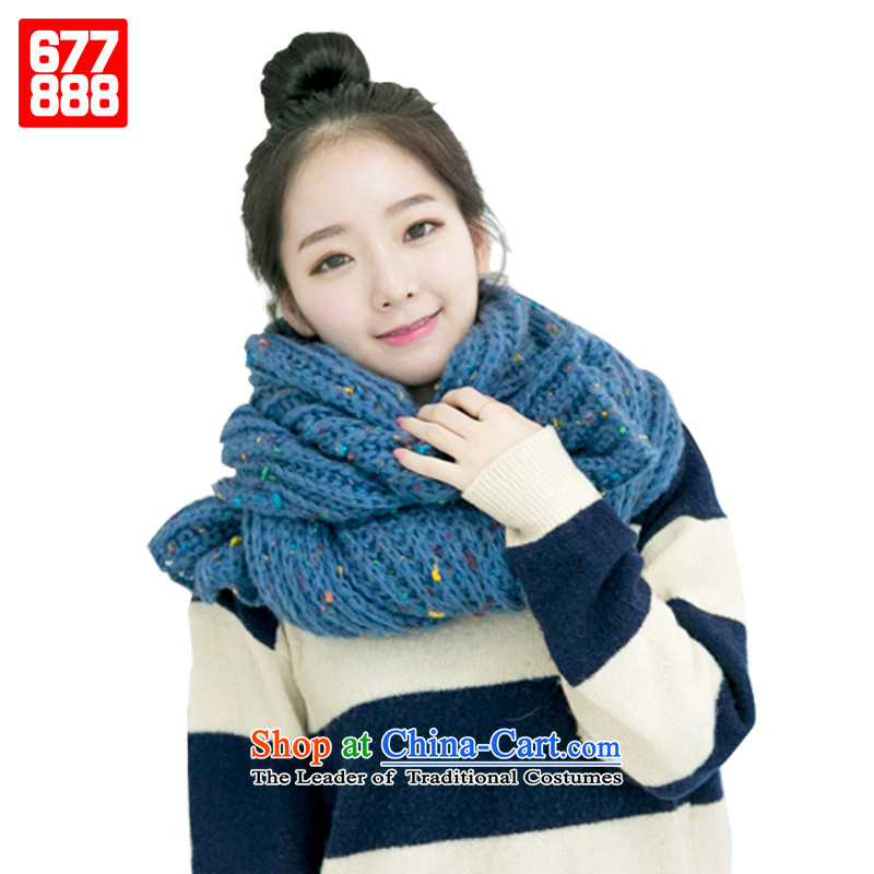 The end of the scarf winter wool Korean female warm thick wool a blue