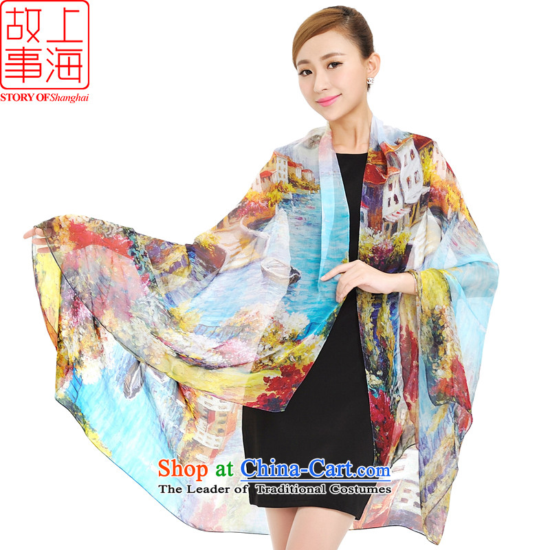 Shanghai Story Ms. spring and autumn silk scarf new color poster widen silk scarfs herbs extract stylish girl 177001 silk scarf Xanadu