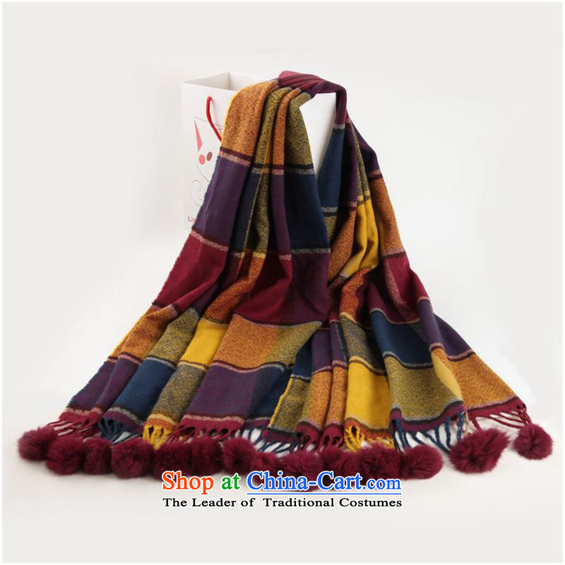 2015 Autumn and winter and a new ultra-long cashmere warm thick England grid, rabbit hair ball Fancy Scarf female210*80CM yellow and purple