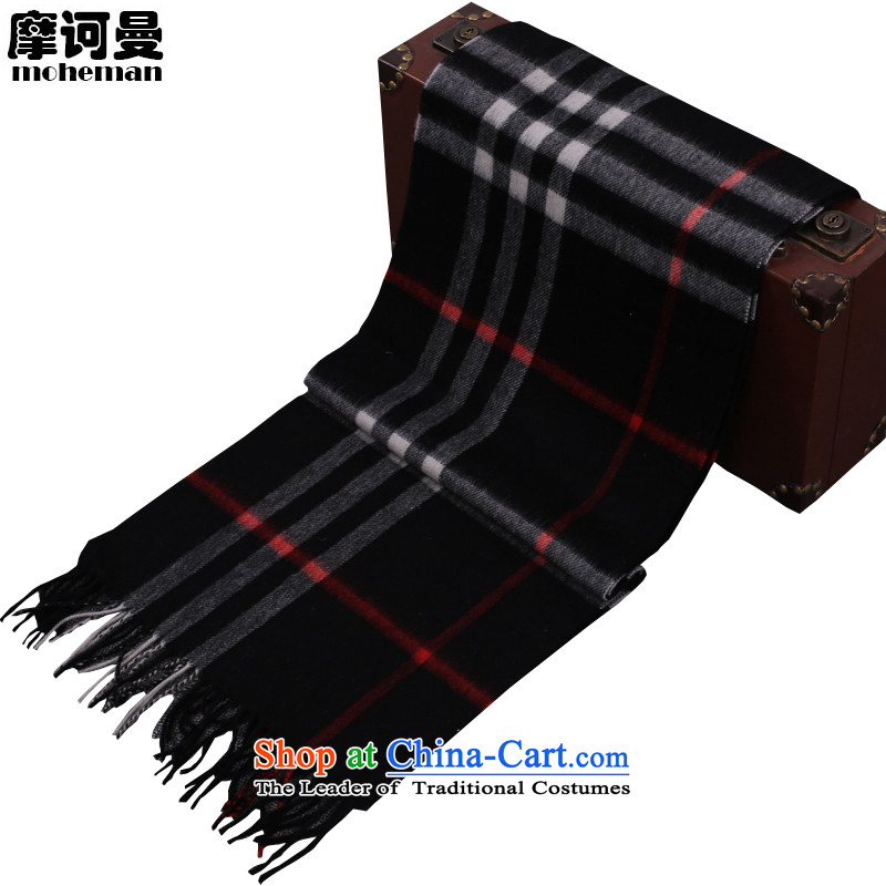 The Cayman British Maha latticed lamb polester velvet scarf of men and women taxi couples soft warm Cashmere wool a black large grid