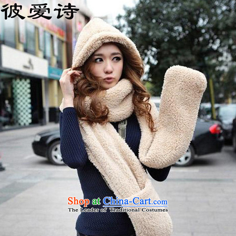 He Elsie 2015 Fall_Winter Collections new Korean lovely double plush thick warm kits female scarves hats gloves one warm scarf female autumn and winter Korean picture color no Size