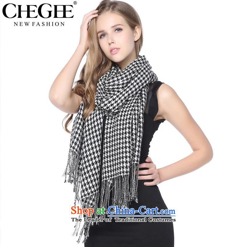 Grid chidori CHEGEE emulation black and white checkered pashmina shawl grand autumn and winter new women's checkered - Streaming Su