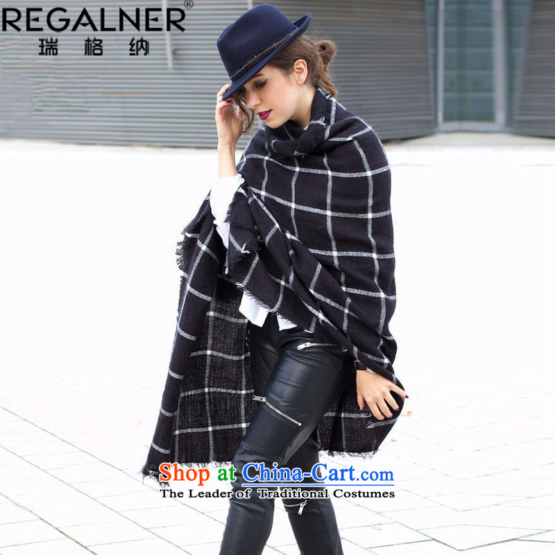 Rui, 2015 Fall/Winter Collections new blanket latticed Fancy Scarf using more female couple, scarf Warm Big shawl scarf female autumn and winter Korean new black no Size
