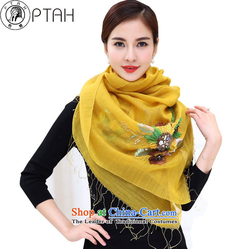 Ms. Buta scarf optional multi-colored silk scarf shawl retro sauna wool silk blended scarves with flowers edging embroidered yellow