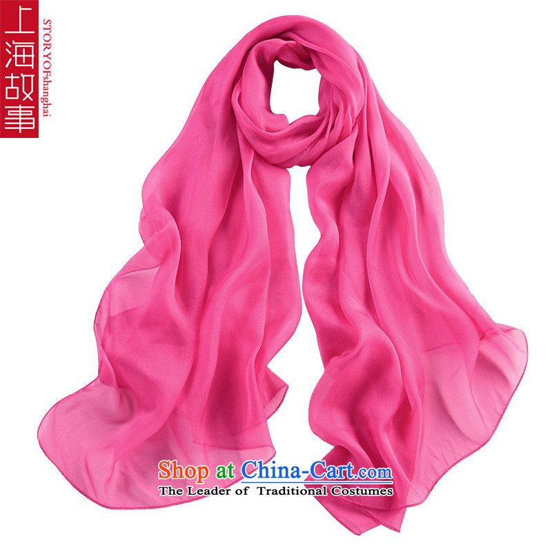 Shanghai Story of color silk scarves increased size of the scarf of herbs extract red