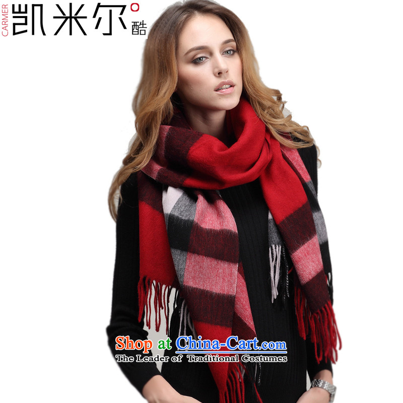 Kemi, core thick Plaid Pure Wool scarves warm air-conditioning woolen shawl, autumn and winter) is red.