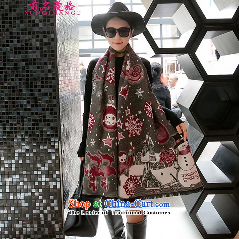 Sun Kai Man of autumn and winter New Christmas snowflake emulation Ms. pashmina shawl long thick large scarf XWY6444313Carbon