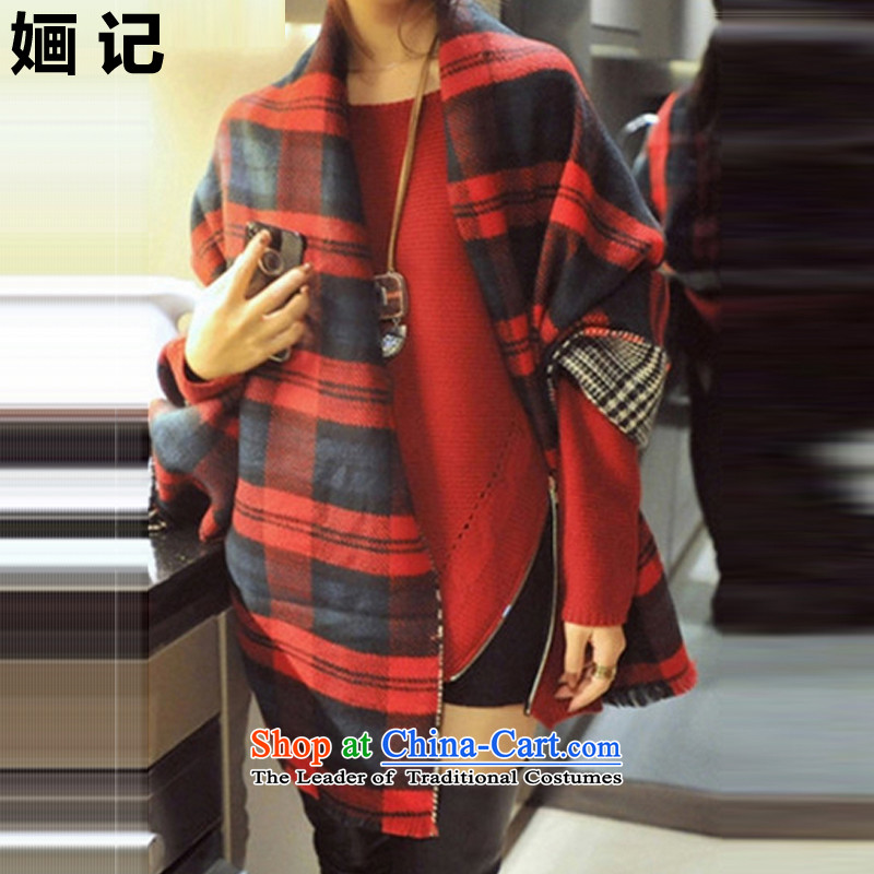 Note 2015 autumn and winter 婳 load new two-sided latticed new warm emulation /pashmina shawl dual-use thick great muffler female autumn and winter edition of the new Korean Classic Red, no size