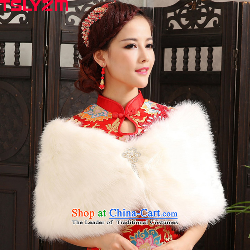 Tslyzm bride wedding shawl new diamond pin white winter qipao gown winter) thick warm shawl 2015 new hair white