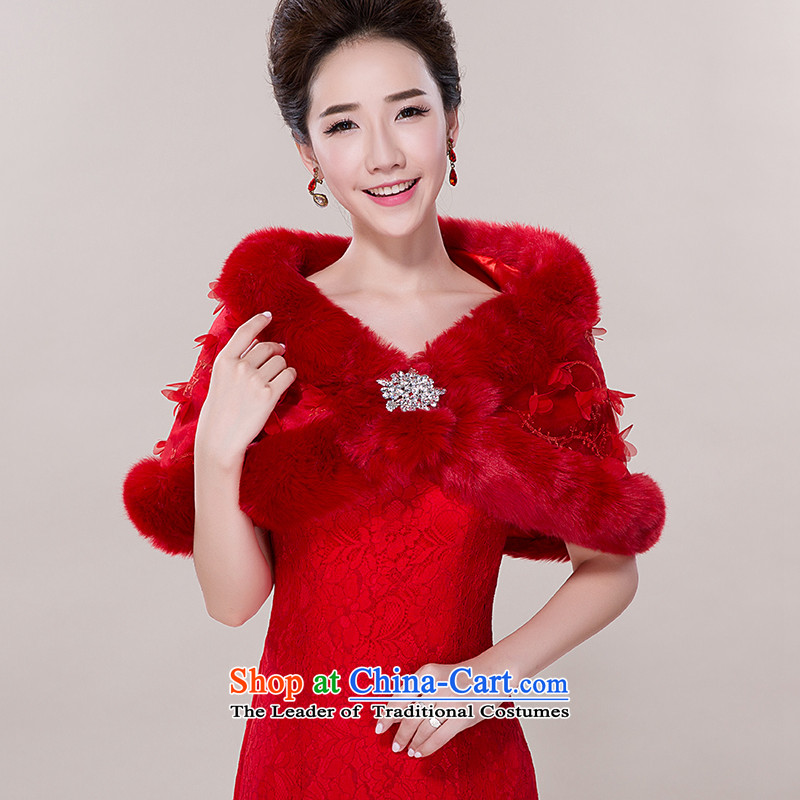 Autumn and winter wedding shawl marriage shawl thick rabbit Maomao shawl Korean high rabbit wool bridal dresses shawl petals shawl red