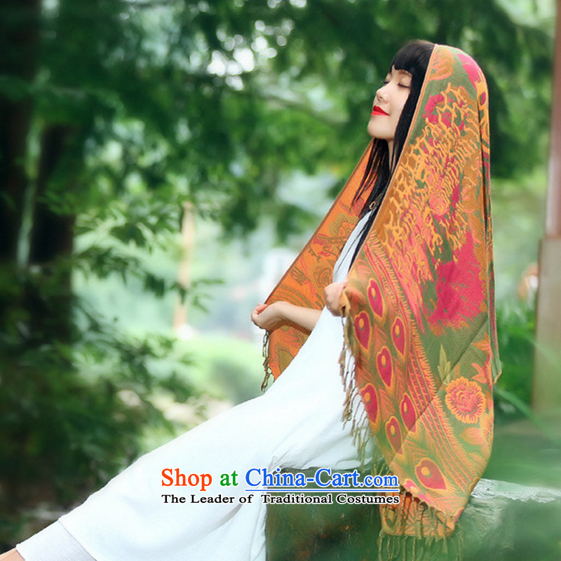 The end of the scarf of ethnic TAOYEE autumn and winter duplex long, thick Ms. Warm Big shawl scarves with two orange