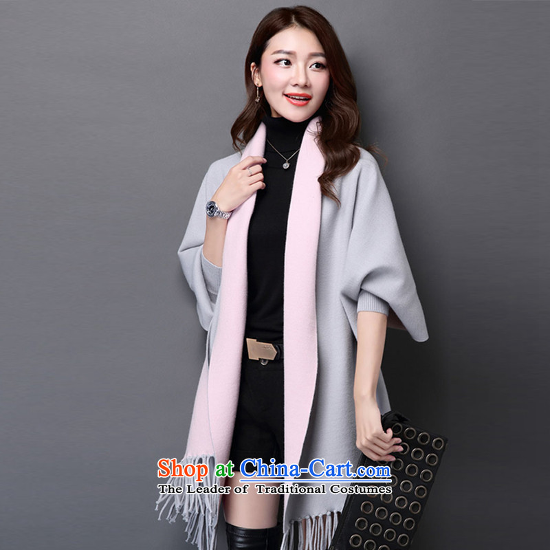The autumn and winter, double-sided edging scarves knitted shirt shawls bat sleeves for cardigan loose cloak jacket Gray + Pink