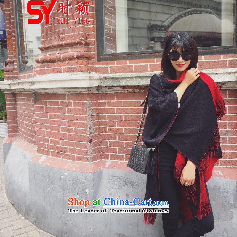 When a woman on the Winter Ying 1905_ new Korean Duplex Knitting scarves edging cloak shawl with women in the autumn of two long shawl Jacket Color Picture