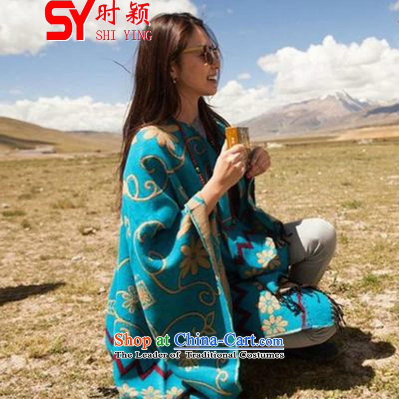 When a woman on the Winter Ying 1807_ new ethnic thick warm the forklift truck shawl cloak scarf blue