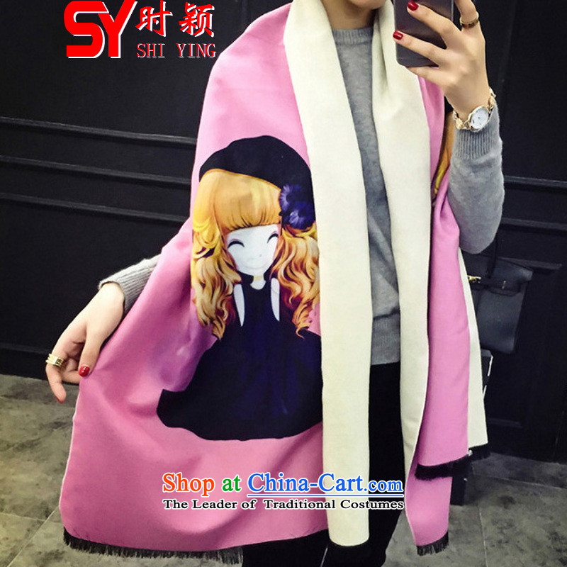 When a woman on the Winter Ying New 1898# Barbie dolls cubs small monsters Fancy Scarf dual-use wild flow so Thick Pink