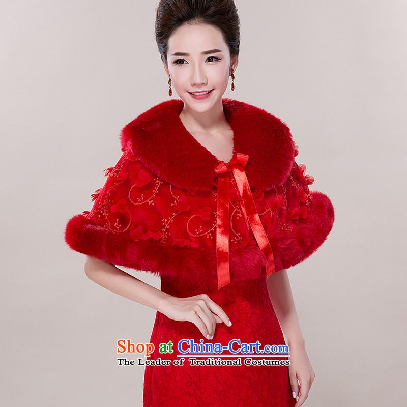 The Emulation fur bride wedding dresses qipao gross shawl Korean autumn and winter wind Short, sweet red lapel red cloak