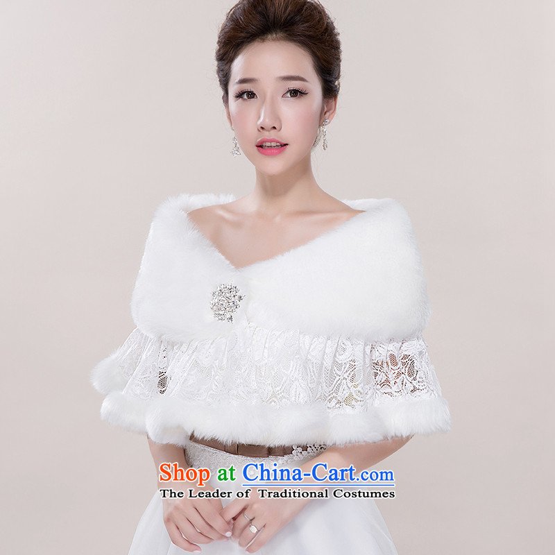 Winter thick Warm White Lace bridal dresses qipao gross shawl wedding banquet toasting champagne marriage evening dress shawl White