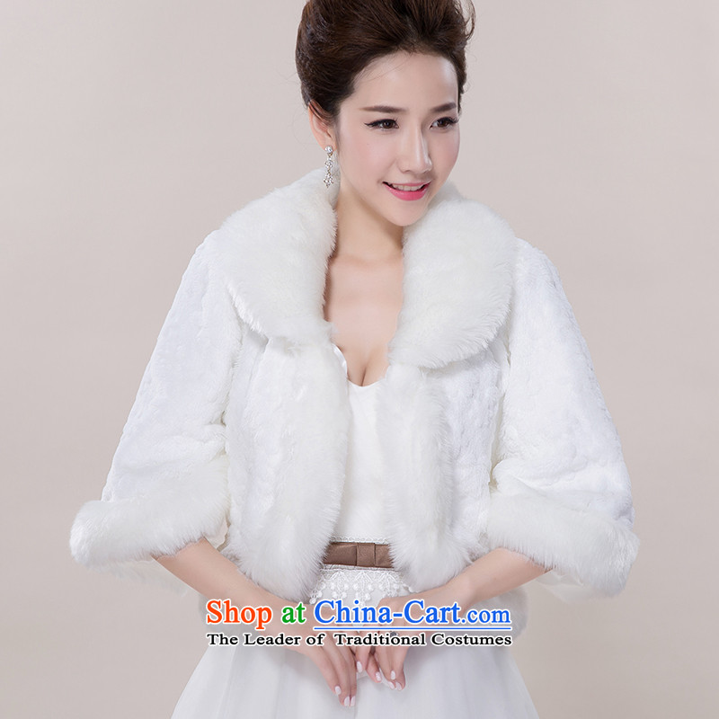 The Korean version of the lapel rabbit wool embossing small jacket wedding dresses qipao shawl married long-sleeved gross shawl warmer white overcoat_