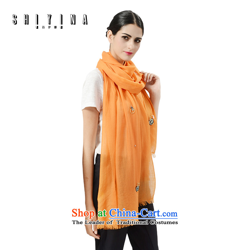 Poetry ina (shiyina) winter female Korean wooler scarf of pure color arts shawl manually diamond a orange