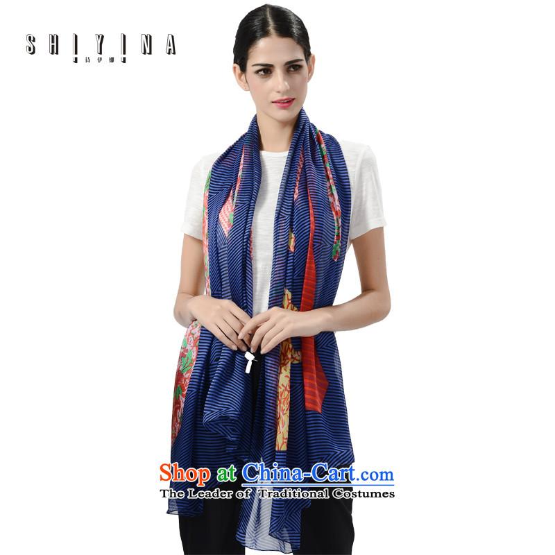 Ms Ina (shiyina) sauna silk scarves female scarf autumn and winter is colorful streaks shawl winter long silk scarfs England Wind Royal Blue