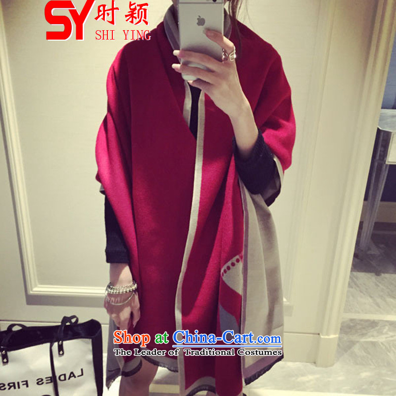 When a woman on the Winter Ying New new small monsters Fancy Scarf two spring and autumn with Korean thick warm Duplex Long) Female 8065# Wine red