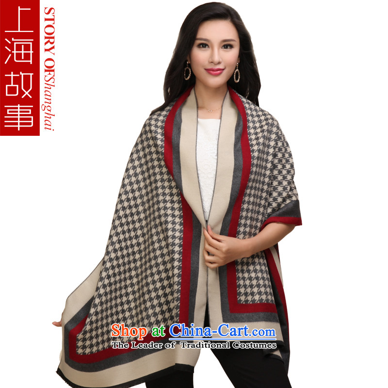 Shanghai Story 2-Sided Pull polester velvet shawl chidori grid in red and gray