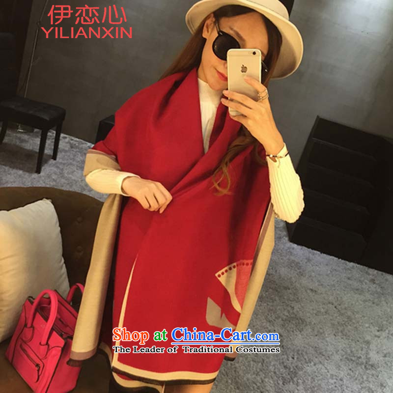 The land of the heart of the               European site stylish duplex 2015 jacquard cashmere small monsters Fancy Scarf 706# Red